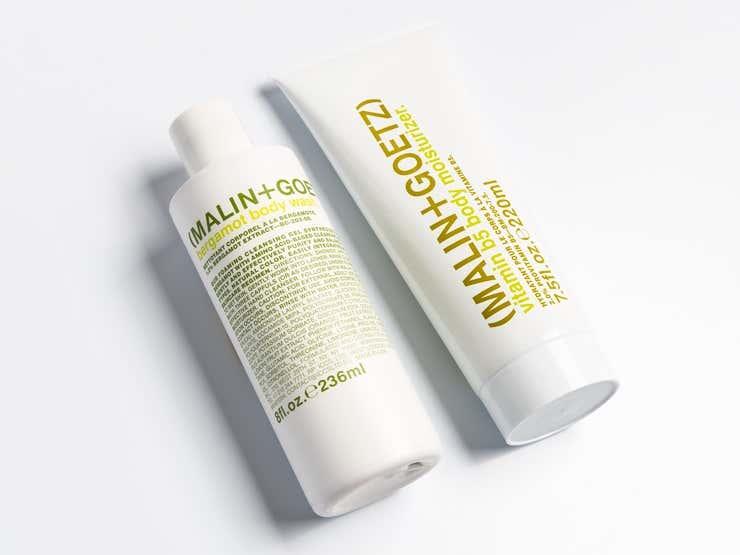 Malin + Goetz bergamot body wash and vitamin b5 body moisturizer