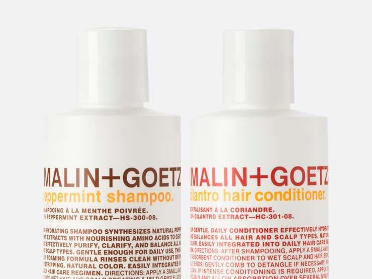 Malin + Goetz peppermint shampoo and cilantro hair conditioner.